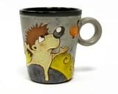 Mug Hedgehog, ceramics and pottery mug, ceramic mug, stoneware cup, teacup, coffee mug, clay mug, hedgehog, pottery mug, coffee cup, tea cup