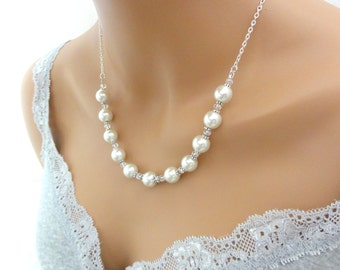 White / Ivory Pearl Necklace, Bridesmaid Necklace, bridal jewelry