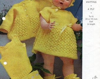 Baby Dolls Knitting Pattern Dolls Set Dolls Dress Dolls Coat Dolls Outfit 18inch 4Ply 20inch DK Dolls Knitting Patterns PDF Instant Download