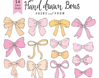 Bow cliparts PNG, bow clipart, baby girl, ribbon graphic, scrapbooking, cards, hand drawn