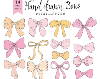 50% OFF SALE Bow Clip Art, PNG, bow clipart, baby girl, ribbon graphic, scrapbooking, cards, hand drawn - Commercial Use