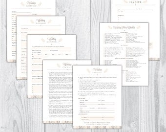 wedding photography contract / wedding photography forms / photography questionnaire / photography contract templates / INSTANT / Rustic