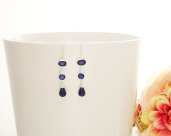 Blue chandelier Earrings - Hook Earrings - Sterling Silver - Drop Earrings - Blue Sapphire - Blue Cubic Zirconia - Long silver earrings