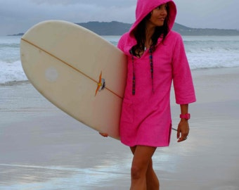 Hooded towel poncho womens surf swim changing robe dress for female. Available in blue, hot pink, white & black. Made in Australia