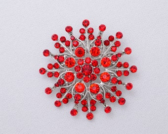 Red Rhinestone Brooch Wedding Bridal Crystal Red Brooche Bridal Accessories Jewelry Red Brooch