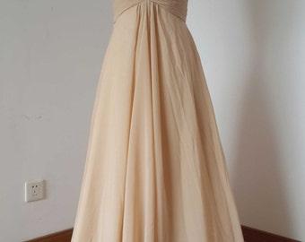Sweetheart Champagne Chiffon Floor-length Long Bridesmaid Dress