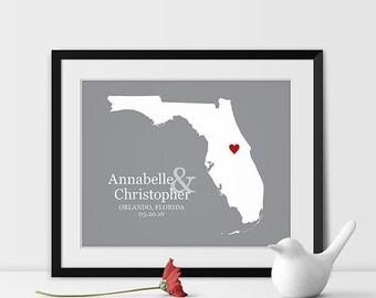 Florida State Art Map Print, Orlando Wedding Map of Florida Personalized Couples Gift Wedding Location Orlando Gift - Any STATE