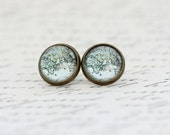 Africa Asia Map Earrings, Stud Earrings,Travel, Map Jewelry, Vintage Map Print, Stud Earrings, Explorer, Gift For Woman, Valentines Gift