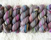 SALE 50% OFF - Gray Here and There handspun rainbow merino wool yarn