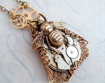 Steampunk necklace, bee necklace  steampunk jewelry statement necklace, bumble bee jewelry, Watch jewelry, steampunk pendant, assemblage