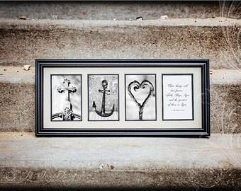 FAITH HOPE LOVE, 1 Corinthians 13:13 Scripture Print, Cross, Anchor, Heart, Christian Artwork, Symbol, Bible Verse - Free Shipping