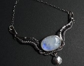 Reserved for VA - Otherworld - Large Moonstone & Sterling Statement Necklace