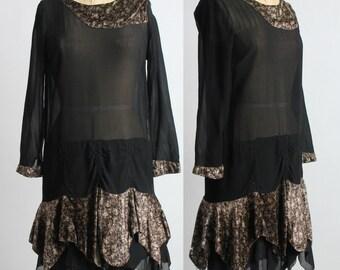 SALE- 1920s Silk .  Flapper Gown . Velvet and Silk