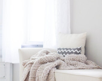 Chunky Knit Crochet Wool Throw Blanket Afghan / THE BARROW / Linen