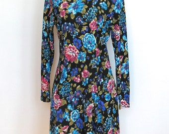 Vintage 1980 - 90s Grunge / Floral Print Dress w/ Mock Collar