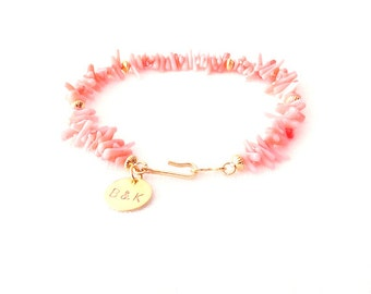 Shell Gold Bracelet - Personalized Monogram Initials - Bamboo Coral - Pink - The Oceania: Spike