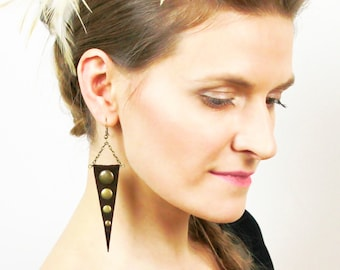 Trinity - dangle leather earrings with brass studs, 12 colors.
