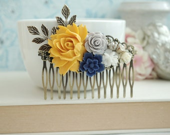 Yellow, Grey Blue Wedding Large Comb. Large Yellow Rose, Blue Brass Leaf Hair Comb. Bridesmaid Gift. Blue and Grey Wedding. Yellow Wedding
