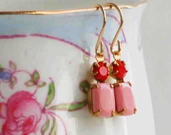Pink & Red RHINESTONE Earrings Petite Glass Bubble Gum Pink Strawberry Red Valentine Gift