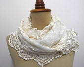 Valentines Gift Lace scarf Summer scarves Wedding scarf Catholic Lace Head Cover Lace shawl White scarf Spring scarf Summer scarf
