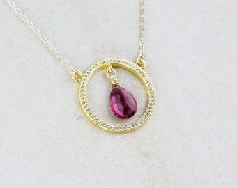 Pink Tourmaline Geometric Necklace - 14k Gold Fill