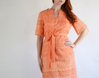 SALE - Vintage 1960s Pumpkin Eyelet Summer Fall Island Vacation Embroidered Mod Dress