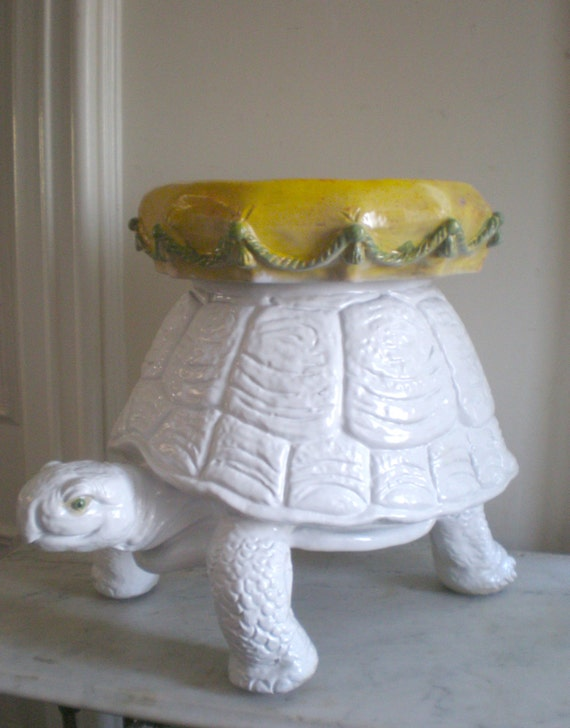 Vintage Turtle Garden Stool Palm Beach