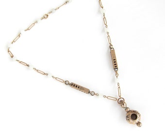 An Imagined Past — antique gold fob on necklace made of antique watch chains