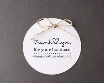 Thank You Stamp with Website Address - Custom Rubber Stamp for Business , Etsy Sellers - Connecting Heart