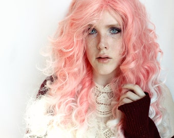SALE Long Pastel Pink Wig | Curly Ombre Pink and white Wig | Flirt
