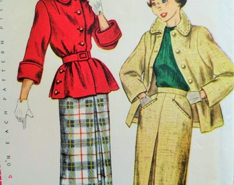 Vintage Simplicity 3344 Sewing Pattern, 1950s Jacket Pattern, Bust 30, 50s Skirt Pattern, Inverted Pleated Skirt, Vintage Sewing Supply