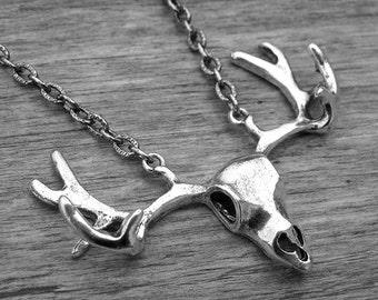 Silver Deer Skull and Antler Rack Necklace Silver Deer Head Necklace Silver Deer Jewelry Southern Country Girl Hunter Hunting