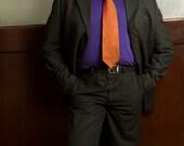 The Crisp Crosshatch Tie: 100% Silk Duochrome Rust Necktie with Volcano Swarovski Rhinestones