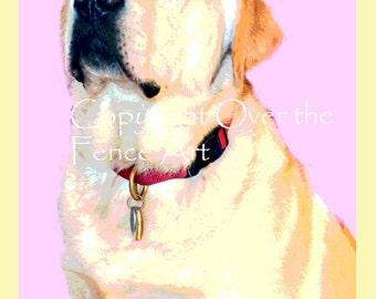 Easter CARD ,Yellow Labrador wears festive Bunny Ears