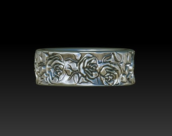 wedding ring wedding band ring band silver ring silver band roses XB17