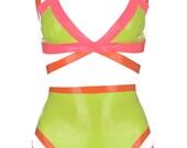 Latex Strappy Neon Bodysuit Set