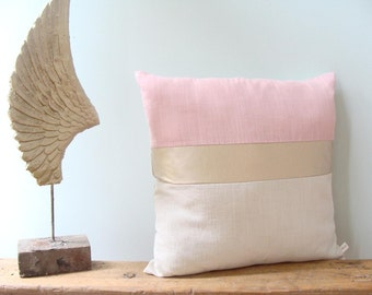 Color Block Pillow Cover/Blush Pink/Metallic Gold/Cream/Modern/Minimalistic/Stylish Accent Pillow/New Collection/Zigazag Studio Design