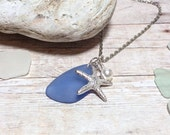 Blue Sea Glass Necklace Women's Necklace Gift For Her Gift Starfish Necklace Sapphire Mom Girlfriend Sister