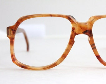 Vintage 70's Oversized Orange Tortoise Eyeglasses Frames