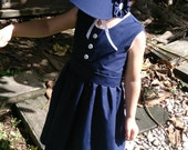 Size 4/5 Toddler Navy Blue and White Jane Austen Bonnet and Pinafore Set, Holly Hobby Costume, Little House on the Prairie Costume