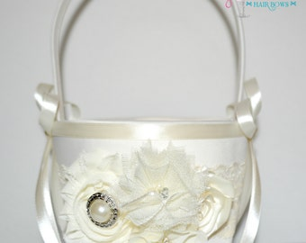 Ivory flower girl basket