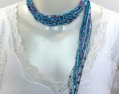 Cyan Blue Ladder Yarn Necklace, Crocheted Ribbon Necklace, Lariat Necklace, Fiber Jewelry, Vegan Necklace, Woman's Necklace, Gifts for Her