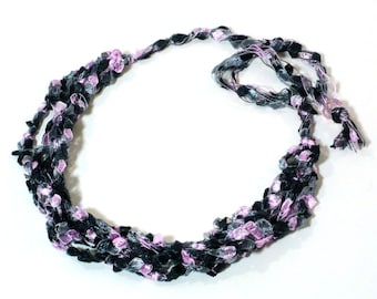 Pink & Black Ladder Yarn Necklace - Pink Ribbon Necklace, Crocheted Choker, Fiber Necklace, Vegan Jewelry, Handmade Jewelry, Ready to Ship