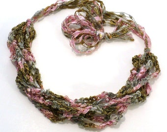 Pink and Gold Ladder Yarn Necklace: Crocheted Ribbon Necklace, Handmade Fiber Necklace, Vegan Necklace, Handmade in the USA, Ready to Ship