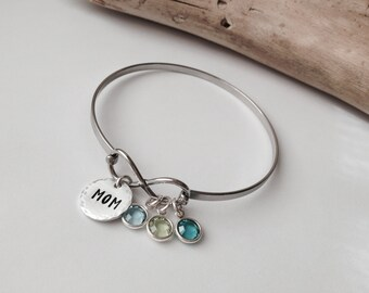 Personalized Bangle Bracelet Custom Mothers Day Gift Birthstone Jewelry Infinity Bangle