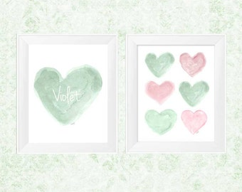 Pink and Mint Nursery Art, 11x14 Set of 2 Prints, Mint Decor, Personalized Name, Mint Watercolor Print, Girls Room Decor, Pink and Green Art
