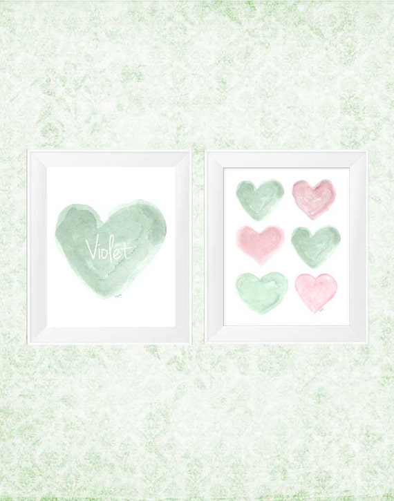 Pink and Mint Nursery Art, 11x14 Set of 2 Personalized Prints
