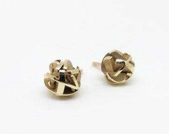 3D printed gold earrings, round gold studs, 3D printed jewelry - Negative/Positive collection