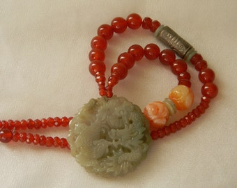 Vintage jade phoenix & dragon pendant w carnelian beads necklace , beaded jewelry , jade , jade jewelry , Chinese weddings , carved amber