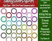 Glitter Circle Frames Digital Clipart, Rainbow Circle Clip Art, Instant Download, Printable Digital Circle Frame Scrapbook